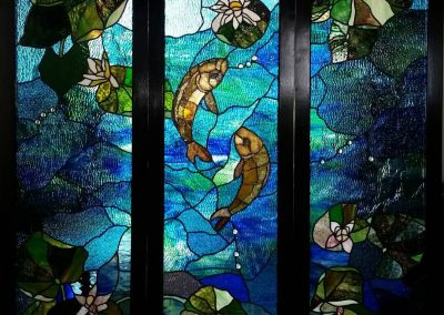 Stained Glass Screen _Pond in a Botanical Garden_ 2014. W 66″ X H 64″Design_ Evelina Mayner. Production_ Alfredas Sutkus.